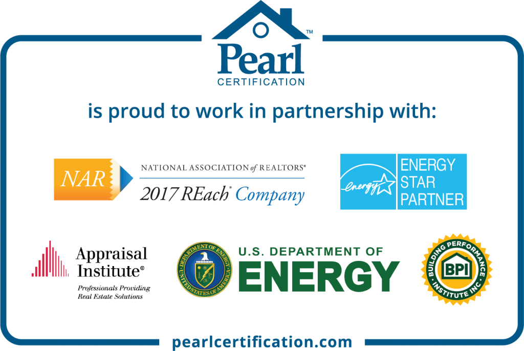 logos for pearl certification partners including national association of realtors, energy star, appraisal institute, US department of energy and building performance institute, inc.