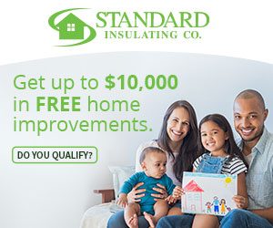 happy family sitting together by text advertising up to $10,000 in free home improvements